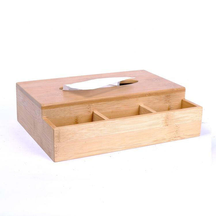 Bamboo Tissue Box Holder with 3 Compartments Holder for Pen Pencil Remote Control Phone and More for Home Office Desk