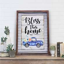 Galvanized Corrugated Distressed Wall Signs Frame Truck Wood Plaque(Bless This Home)
