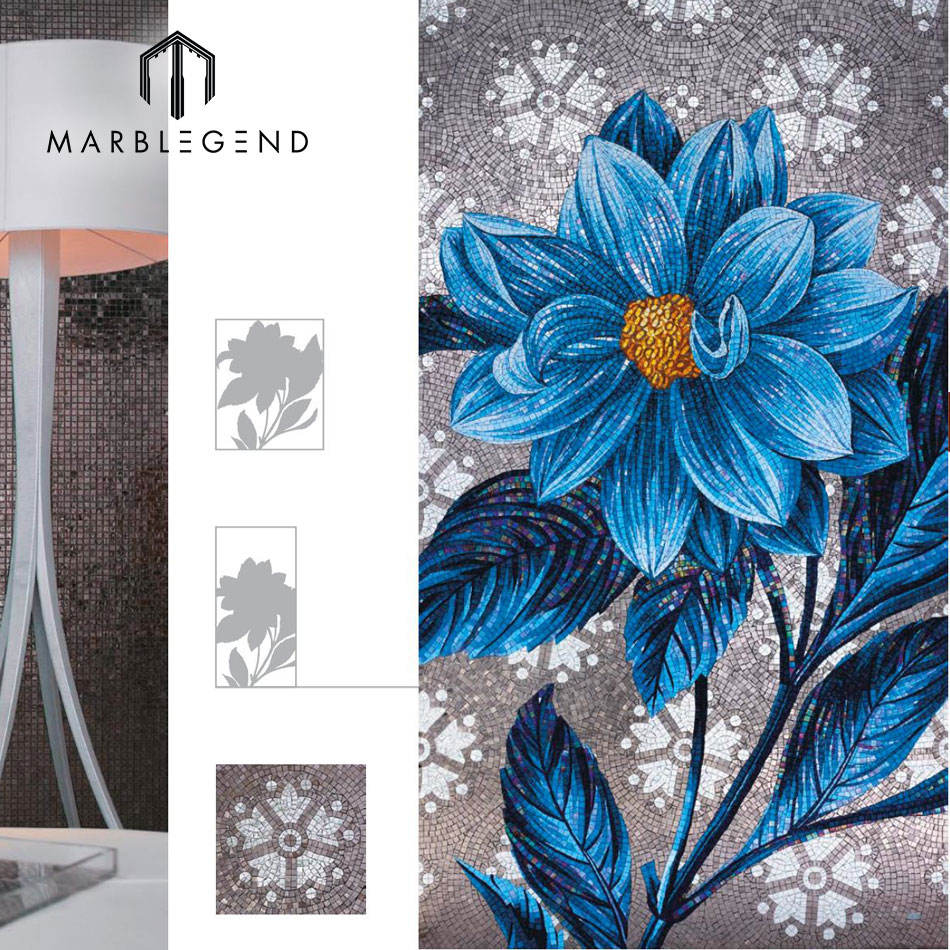 Cheap price Art Mural Wall Backsplash blue Flower Patterns Glass Mosaic Tile