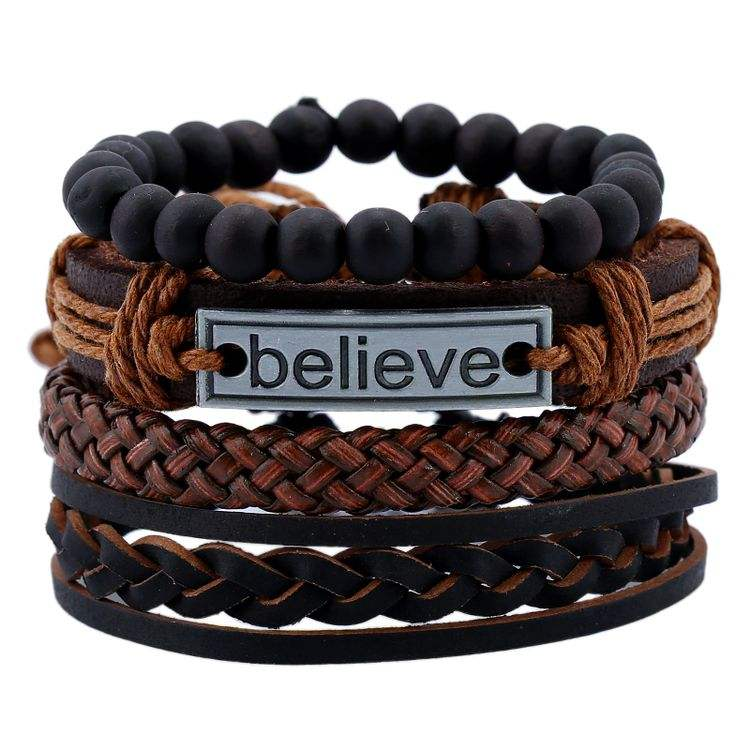 2019 New Arrival Punk Style Black Stone Beaded Braided Leather Custom Engraved Believe Faith Bracelets