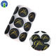 Printed Round Brand Name Logo Stickers Glossy Vinyl Waterproof Labels with Gold Foil Hot Stamping