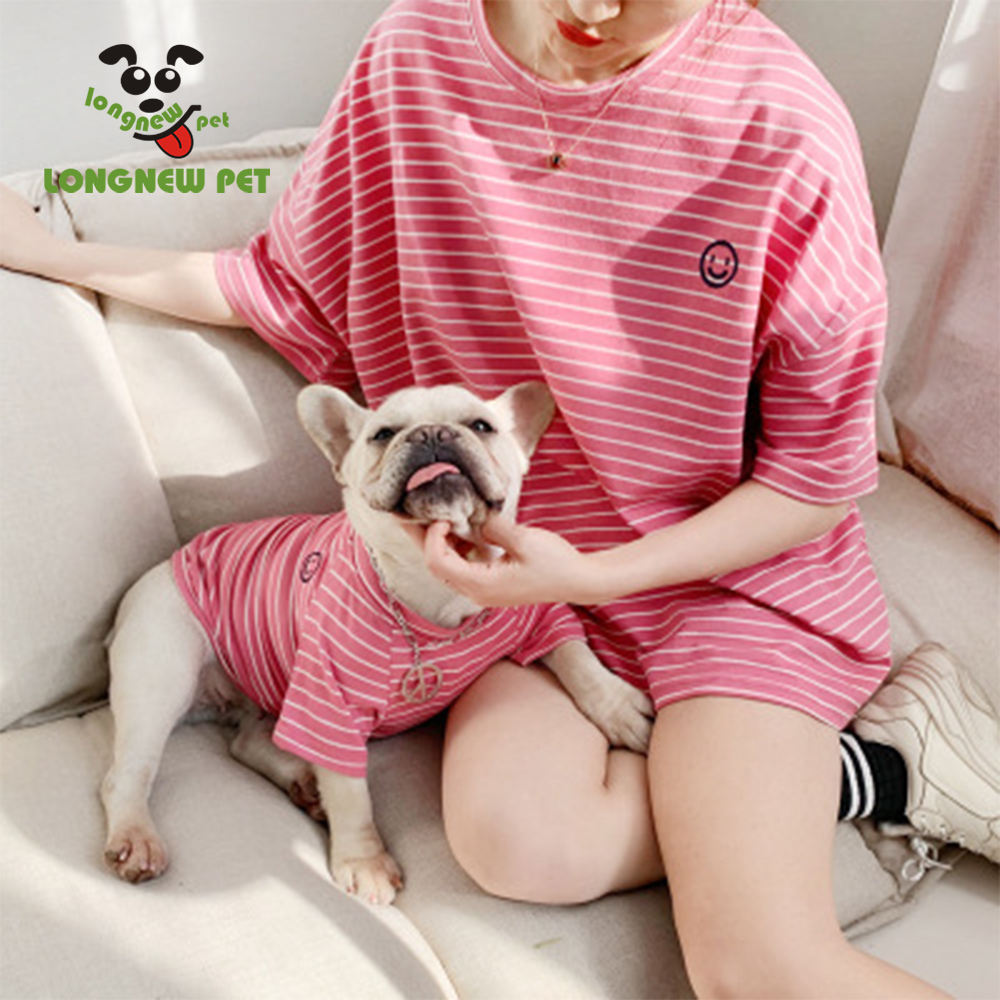 Summer Stripe Matching Pet and Owner T shirts Vest Dog And Human Clothes Set