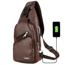 Hot Male Crossbody Bag Custom With USB Charging Shoulder Strap Bag Men Anti Theft Hasp Sling Bag Men