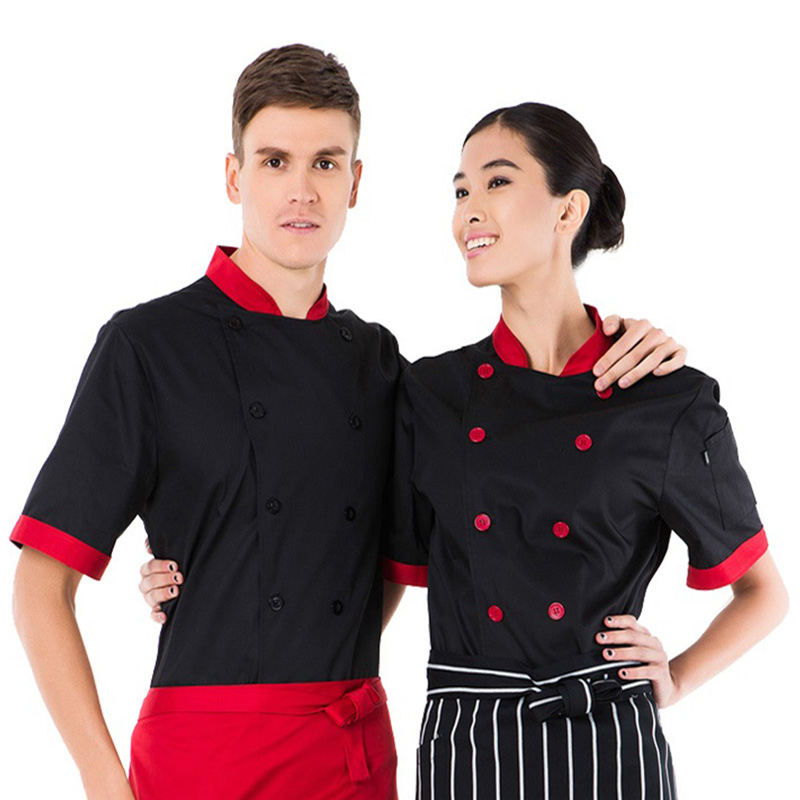Black Chef Uniform ,Bar Uniform ,Short Sleeve Restaurant Uniform Cook Wear