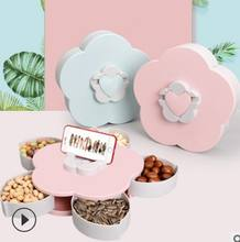Creative rotation of 5 boxes of dried fruit candy tray flower shape snack box peanut seeds dribble with mobile phone bracket