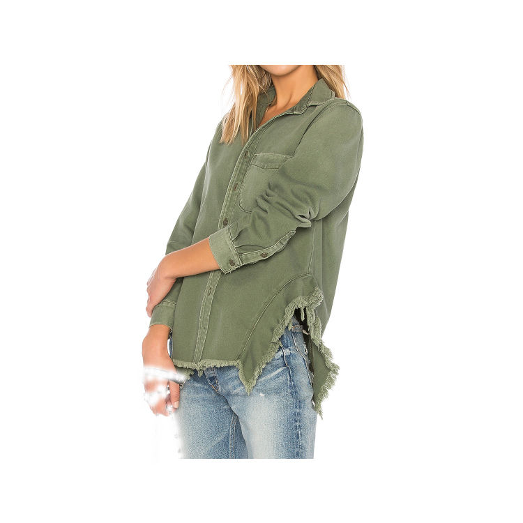 Custom women apparel Frayed Distressed edges Button Up Shirt