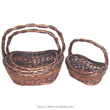 Cheap rattan bamboo willow gift storage baskets with handles