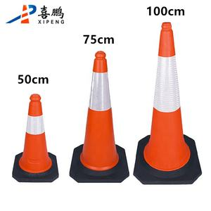 100CM Orange PE Highway Traffic Cones For Road Safety
