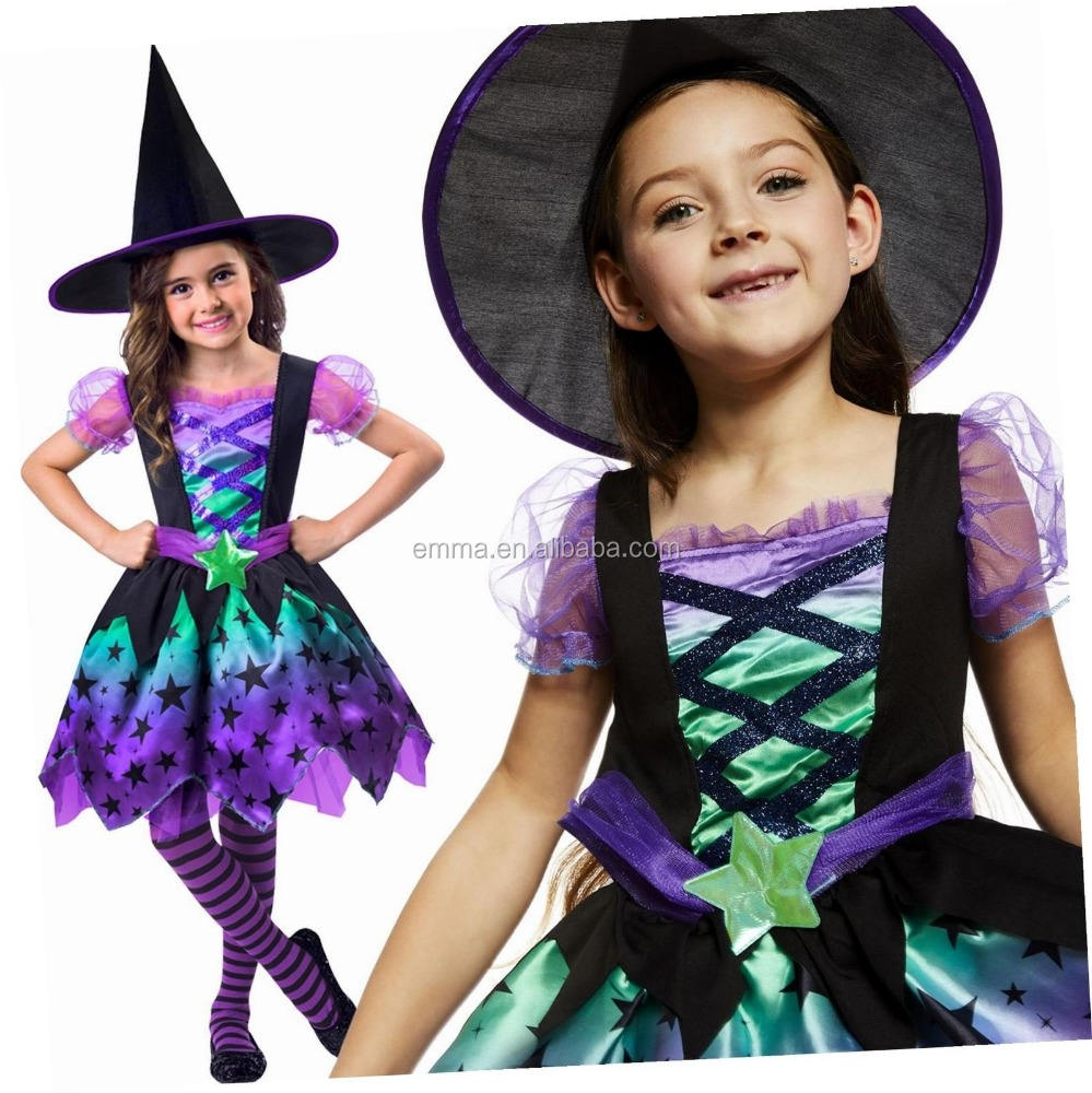 2020 hot sales Kids Black And Orange Witch Fancy Dress Costume Size SC1171