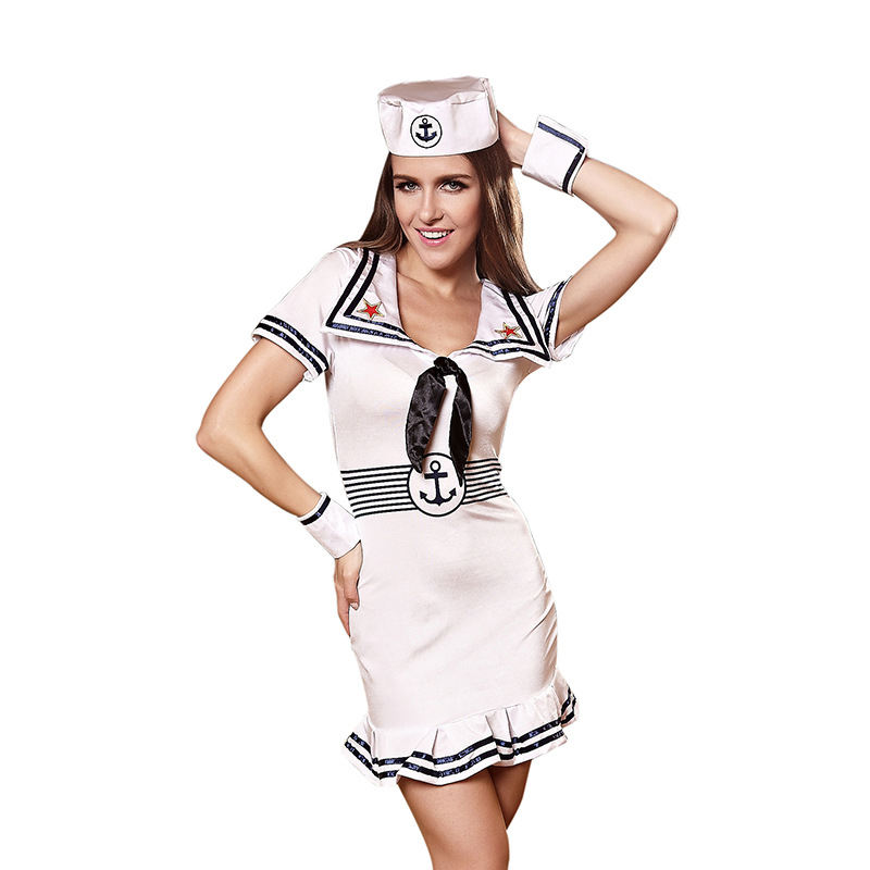 Eropa dan Amerika Navy Sailor Suit Female Sexy Uniform Kostum Godaan