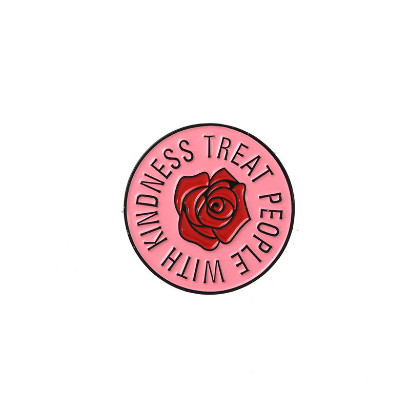 QIHE <span class=keywords><strong>Harry</strong></span> Styles! Nette Rosa Rose Güte Zarte Runde Emaille Abzeichen Revers Brosche Pin