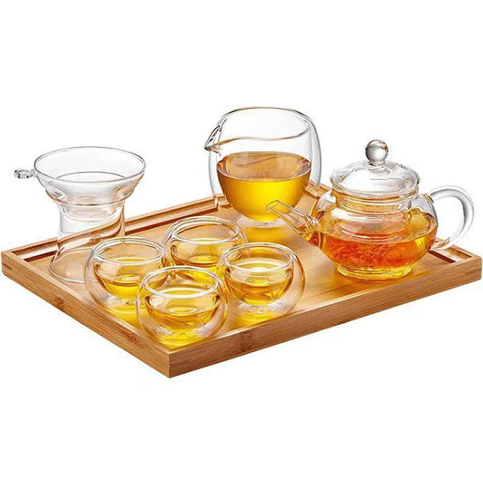 Handmade heat-resistant gift glass cup teapot tea set with tray