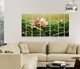 LOTUS Flower 3D Metal Wall Hang Picture Art Chinese Frame Oil Painting 100% Handmade 100*200cm 7 panels