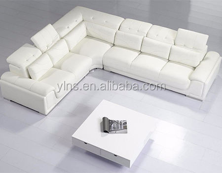 Hot selling 6 seat living room white leather corner sofa