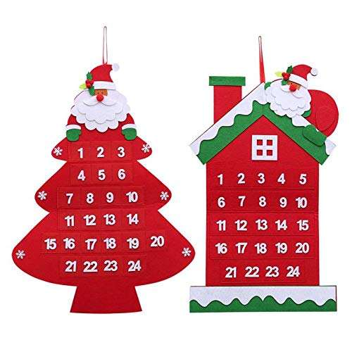 Xmas Tree House Shape Felt Calendar Ornaments Christmas Countdown Calendar Felt Christmas tree Advent Calendars