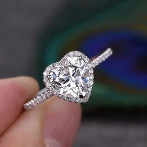 Latest Simple Design 18K White Gold Engagement Ring Heart Shape CZ Diamond Wedding Ring for Girl R841-M