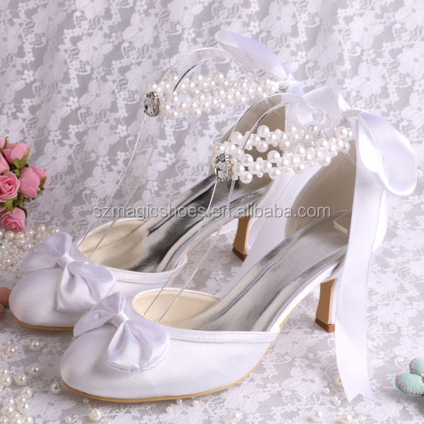 Pearl Strap Pure White Bride Shoes with Ribbon