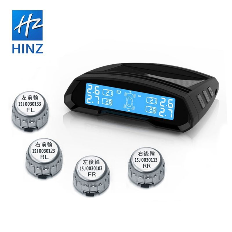 HINZ new generation of TPMS external solar charging buzzer alarm temperature tire pressure monitoring system detector