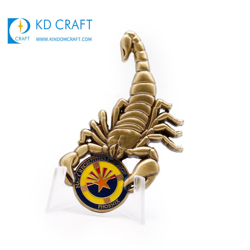 High quality personalized custom blank metal zinc alloy gold plated 3d animal coin for souvenir