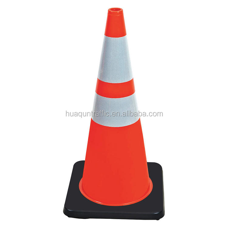 Rubber Base Wholesale Road Safety Guiding Cone Plastic Traffic Cone Black
