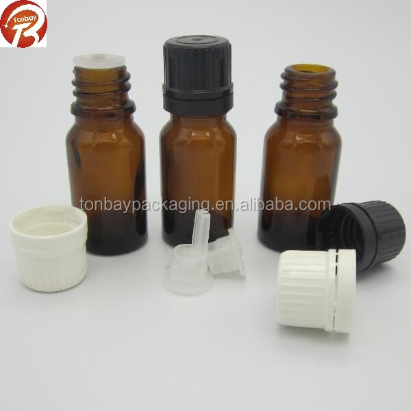 18/410 10ml 15ml 20ml 30ml amber glass bottle containers with tamper evident plastic cap and inner dropper