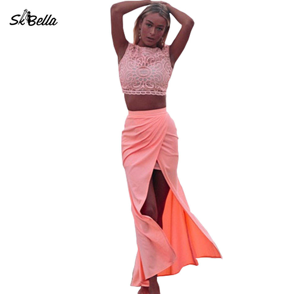 Latest Custom Suit Women Summer Candy Color High Waisted Cropped Tops And Maxi Skirt Two-piece Sets