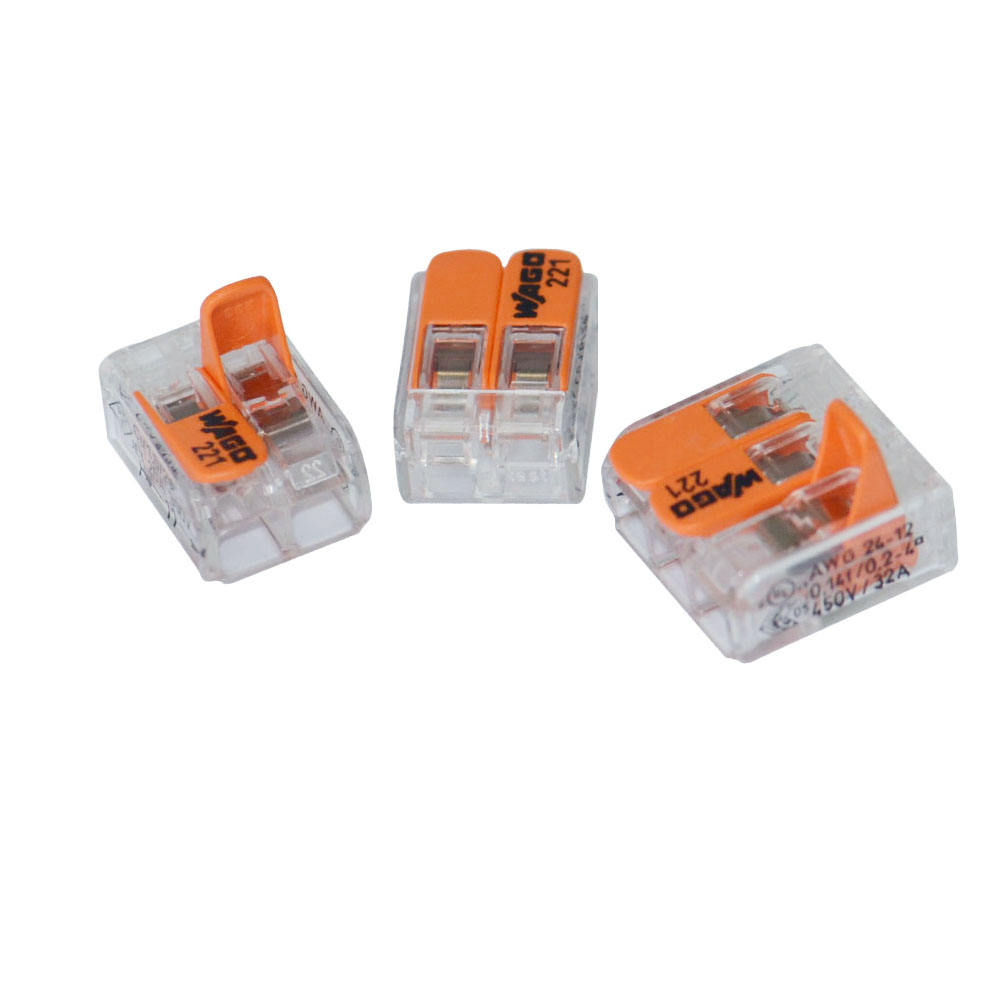 Wago 2 Conductor push wire connector with levers, Transparent packing box