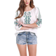 Hot sale no shoulder ladies 3 / 4 sleeve blouse designs smocking neck retro embroidery floral printed chiffon blouse