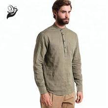 Wholesale linen clothing long sleeve crew neck men green linen pullover shirts