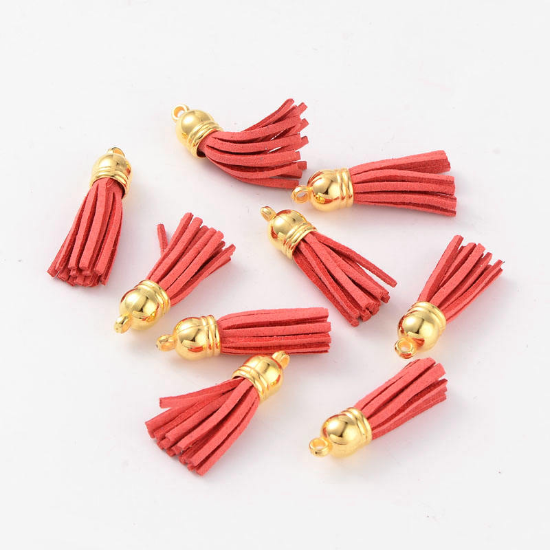 Suede Tassels with CCB Findings Nice for DIY Earring or Cell Phone Straps Making 38x10mm Hole: 2mm