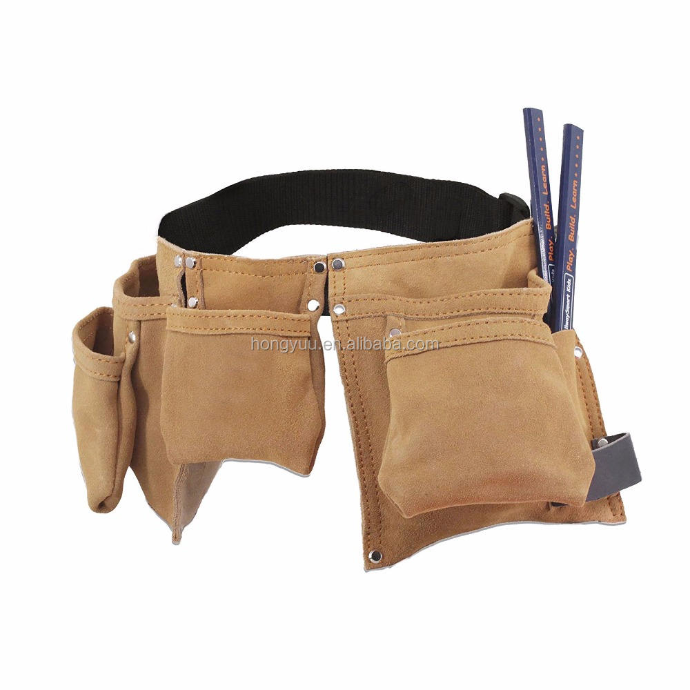 Jong Builder Kids Leather Tool Bag Kind Timmerman Potloden Set Duurzaam Suede Tool Riemen Voor Kid Met Lederen Hamer loop