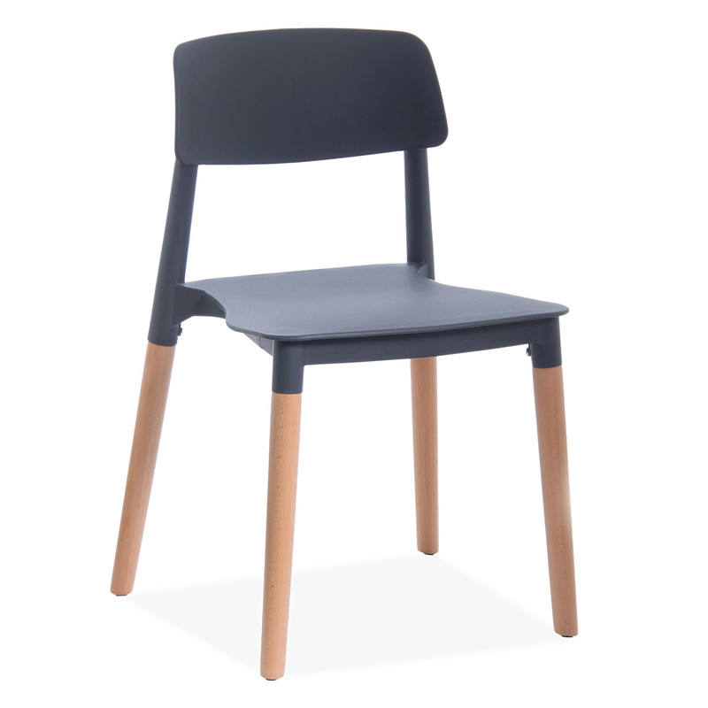 China White Color Plastic 4 Wood Legs Dining Chair
