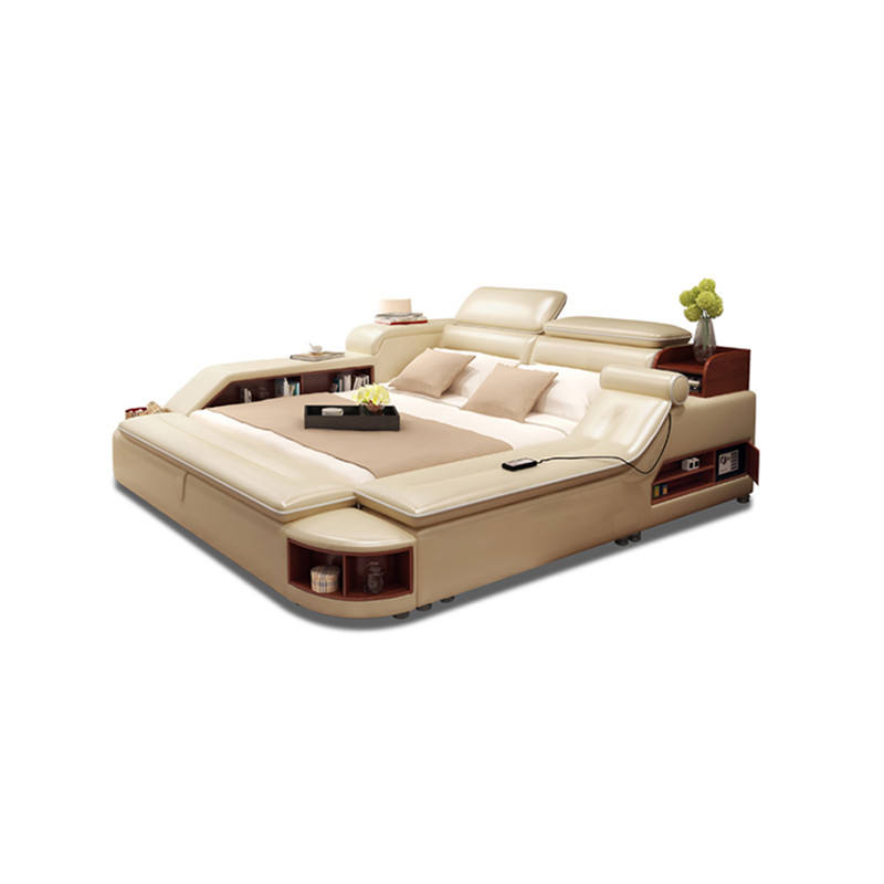 Multi Functional 100% cow hide skin genuine leather intelligent bed with massage/speaker/bluetooth