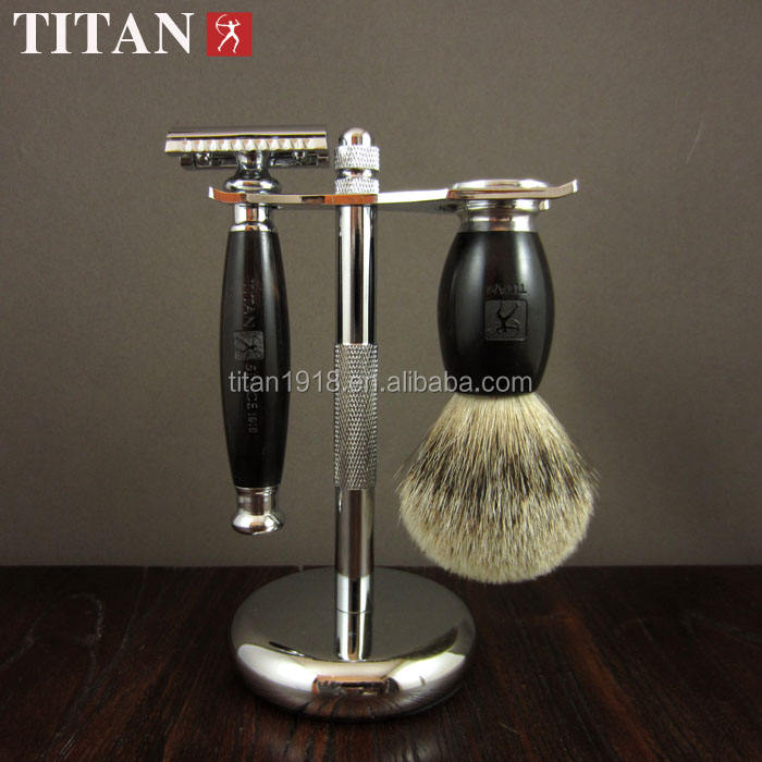 Titan natural black sandal wood double edge blade shaving razor kit