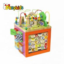 Top sale kids activity cube wooden educative games for creativity W12D048B