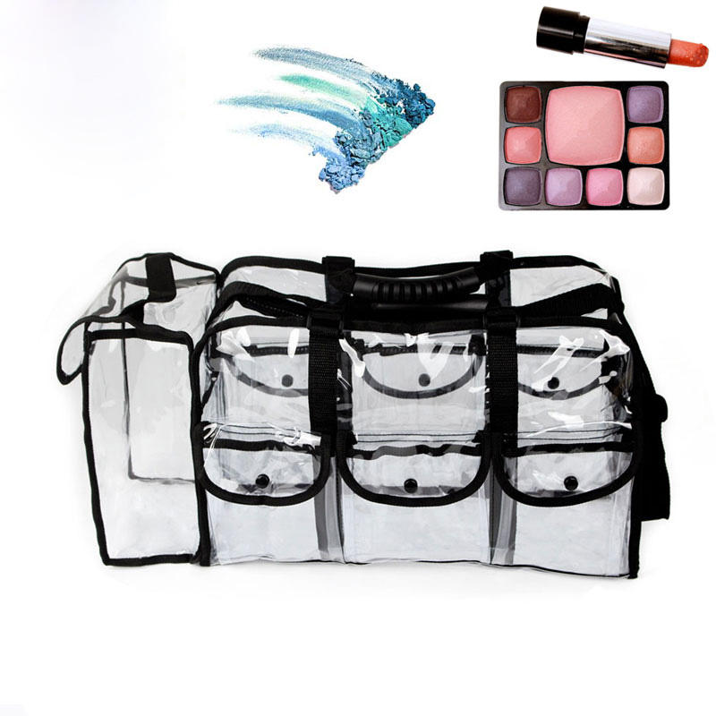Freeshipping clear plastic travel foldable cosmetic makeup pouch tote bag with handle zipper for makeup artist or students