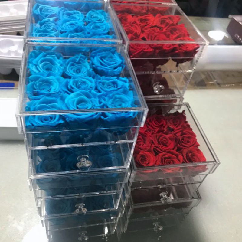 Hot waterproof 9 Rose Plexiglass Box with drawer with custom logo