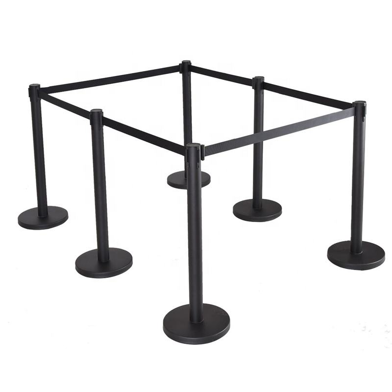Red Belt Stanchion Posts Queue Pole Retractable Crowd Control Rope Stanchion Barrier