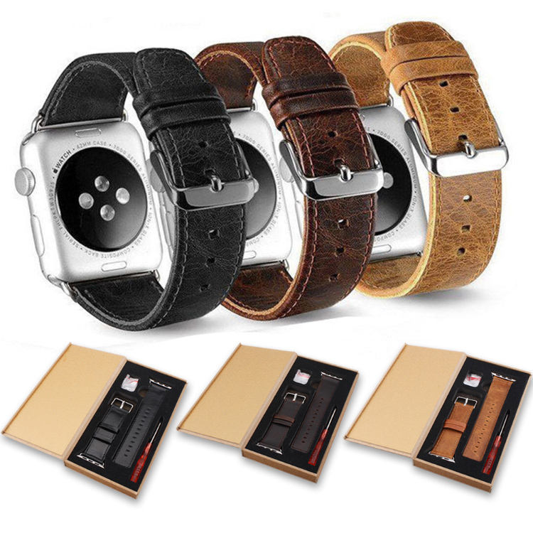 High quality leather watch strap 38mm/40mm 42mm/44mm for Apple watch series 1 2 3 4, for apple watch leather band genuine