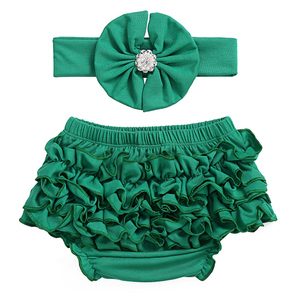 Saint patrick's Day new style fashion wholesale Cotton baby Bloomer & Headband set