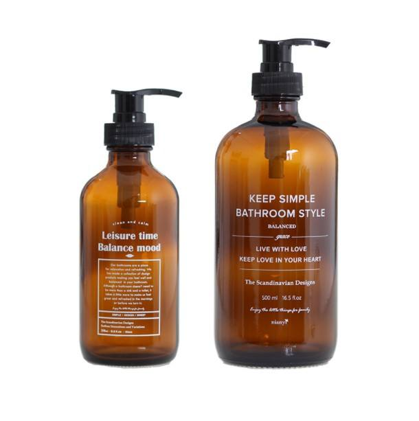 Empty Soap Bottle Shampoo Conditioner Amber Glass Boston Bottle With Pump Sprayer