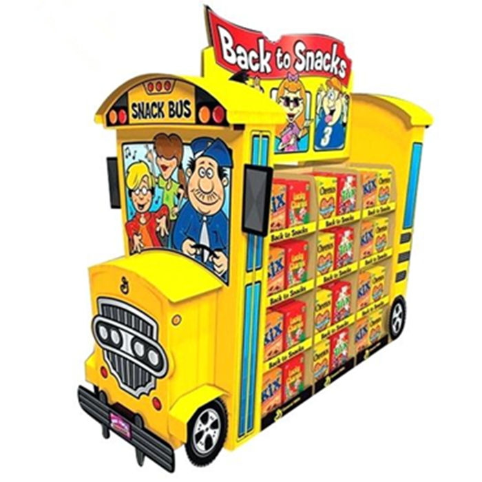 High quality cardboard paper corrugated school bus shaped display stand