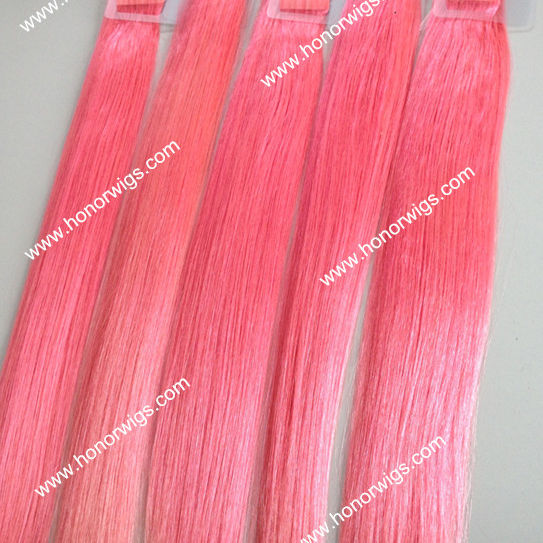 "HX90 100% human hair magenta color 20"" length silky straight tape hair extension in stock without express charge"