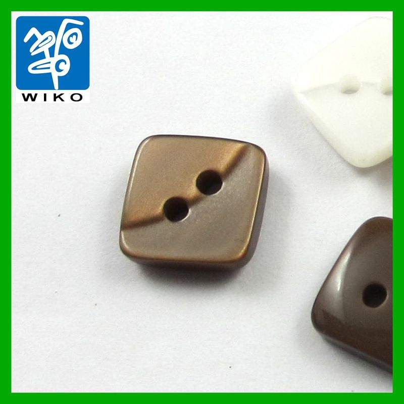 2 holes high polish resin square shirt button
