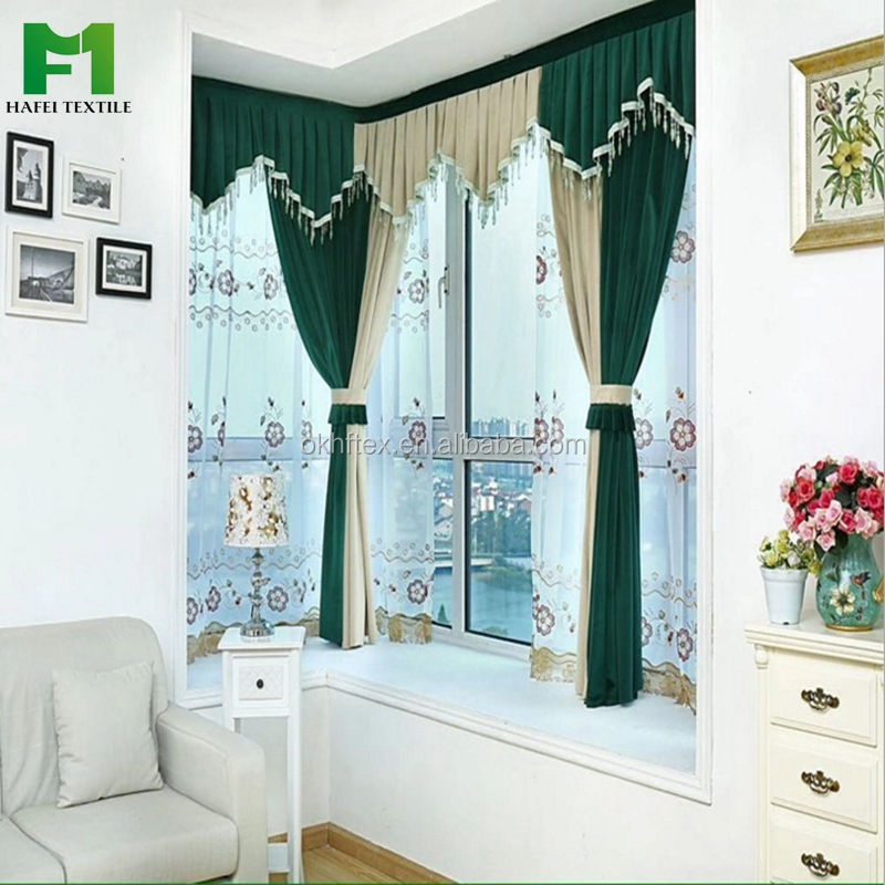 Valance design 100% polyester bedroom blind blackout curtain