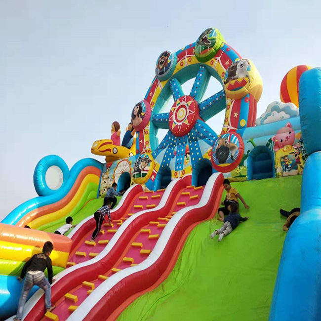 20*12 meters giant crazy ferris wheel theme cartoon theme Inflatable bouncy inflatable castle with slide for kids
