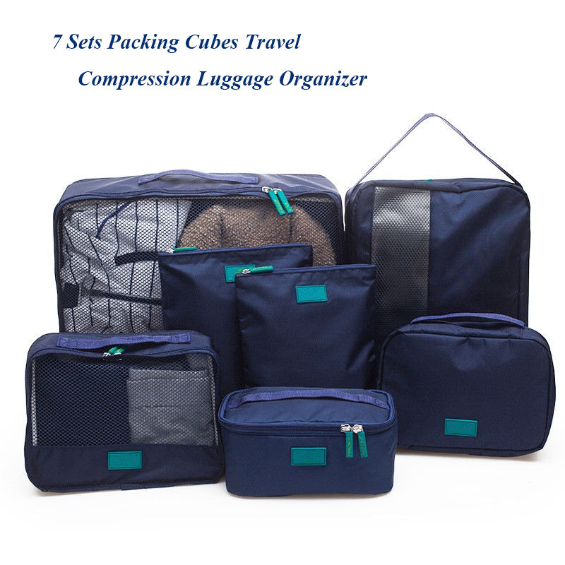 2018 Baru Tiba 7 Pieces Travel Organizer Tas Set Cubes Packing Tas