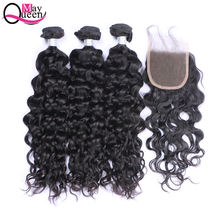 May Queen unprocessed water wave virgin brazilian cuticle aligned Human hair bundles with closure hair extensions hair vendors