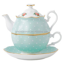 European style New design porcelain ceramic teapot and cup in one for tea coffee