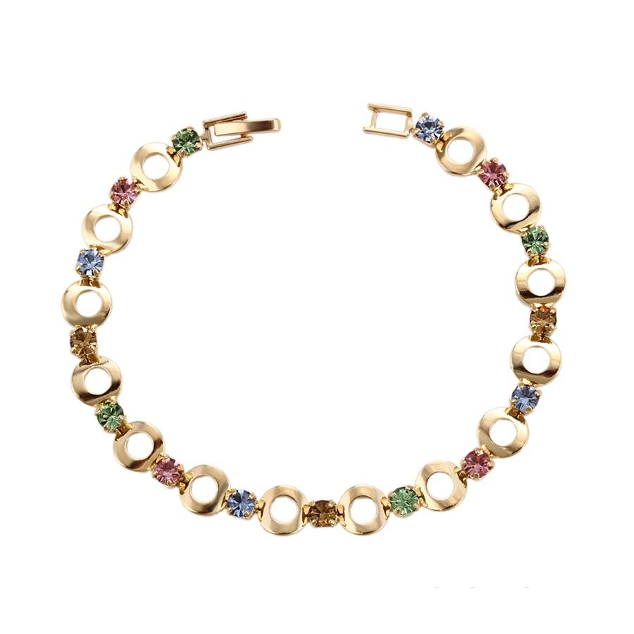 75168 Xuping jewelry gold color charm bracelet with attractive multiply colors rhinestone